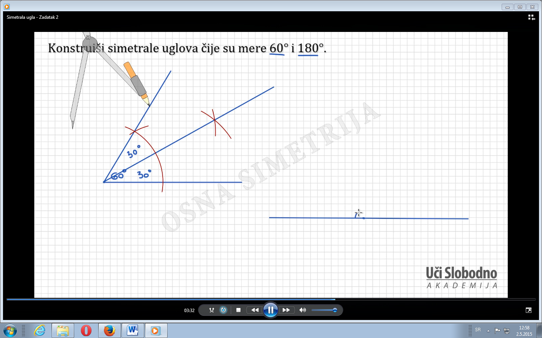Priprema – Matematika, Simetrala  ugla